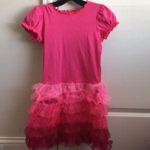 Hanna Andersson Girls Pink Ruffled Dress Sz:8